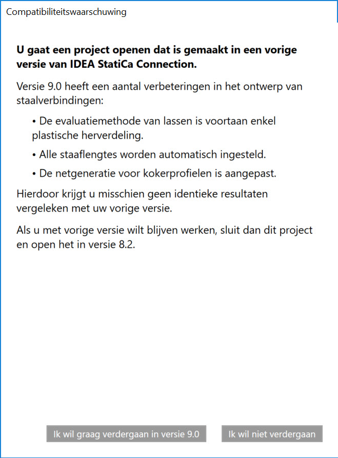 compatibiliteitswaarschuwing oudere versies in IDEA Connection