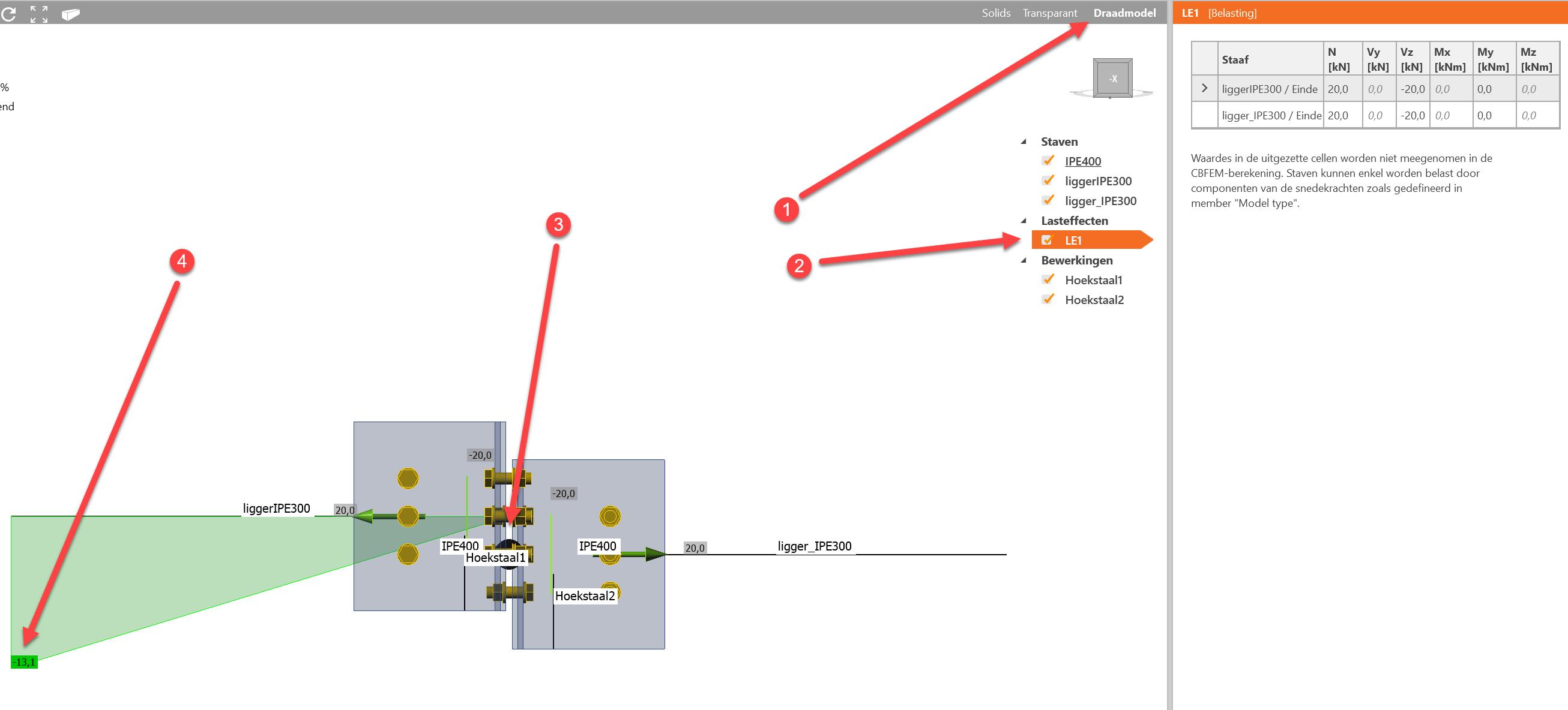 momentenlijn in verbinding met aansluitende staaf in knoop in IDEA Connection