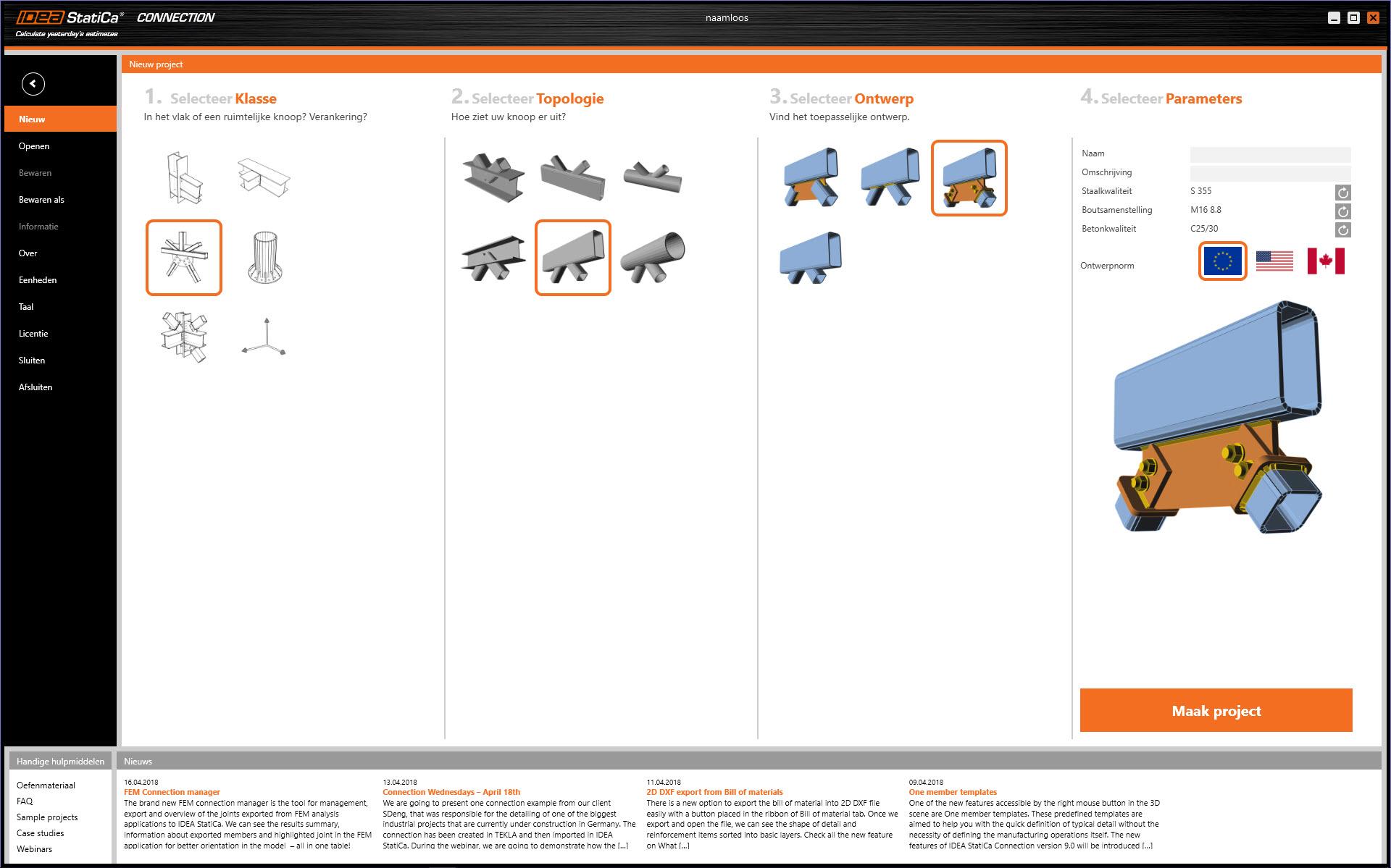 topologie keuze van staalverbinding in IDEA Connection versie 9