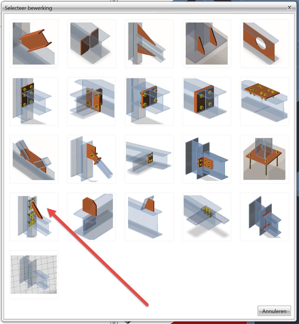 werkplaatsbewerking verstijvende staaf verbinding staal IDEA