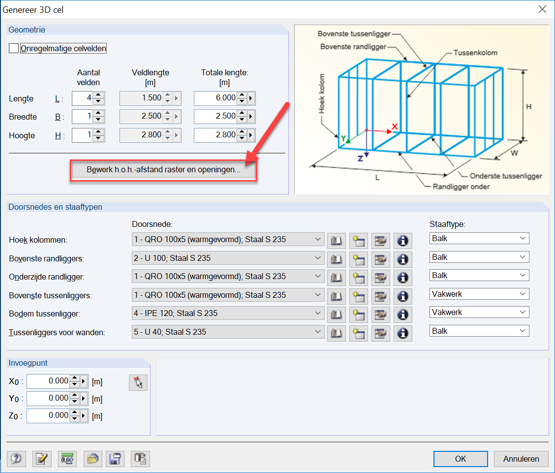 3D Container genereren met 3D cel in RFEM rekensoftware staven genereren openingen definiëren