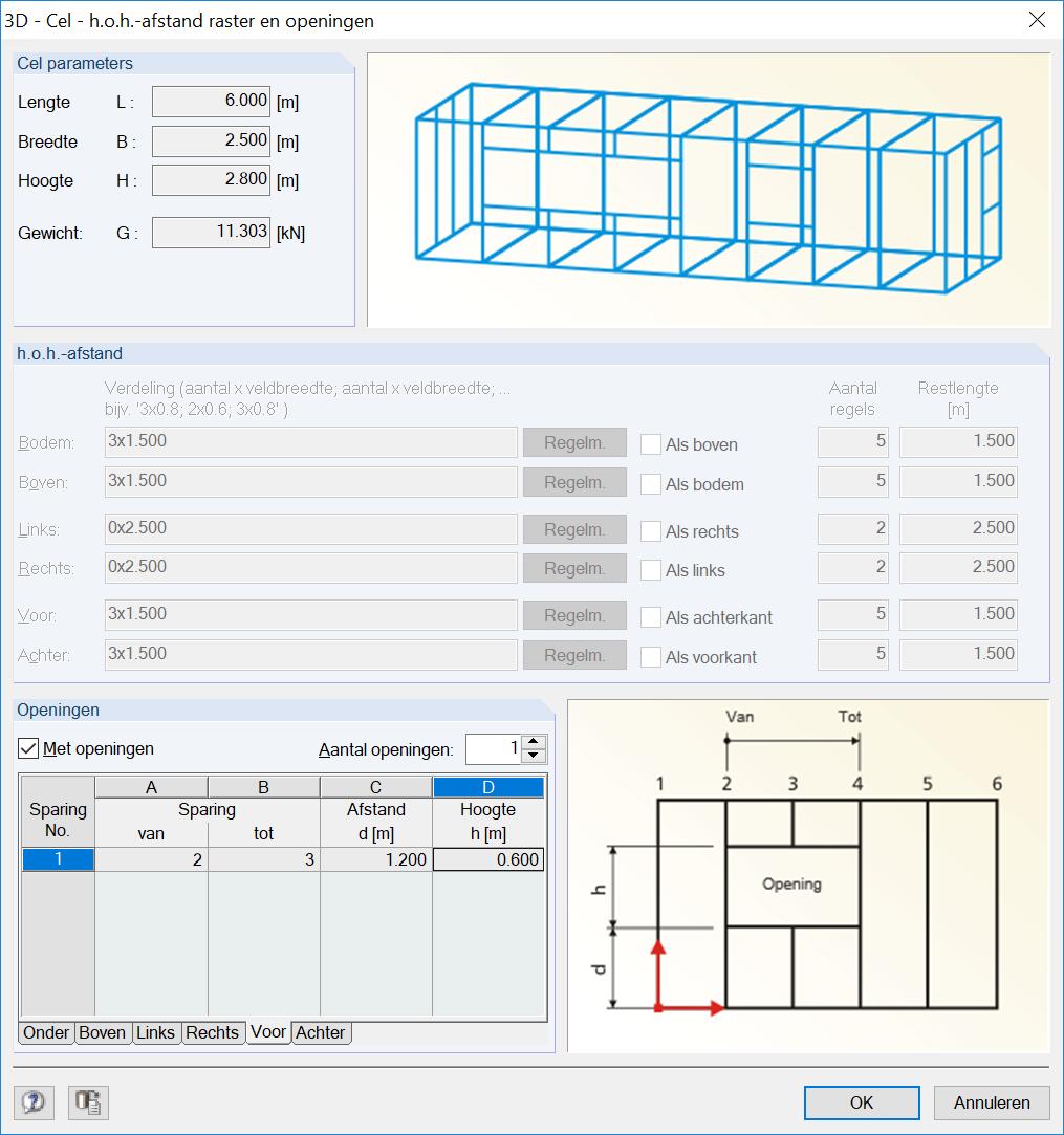 3D Container genereren met 3D cel in RFEM rekensoftware staven genereren openingen front