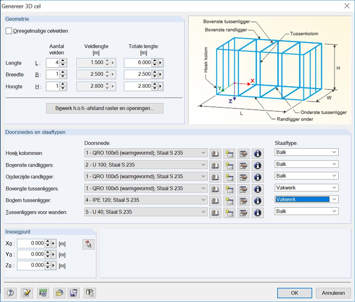 3D container configureren staven en verdelingen in RFEM rekensoftware
