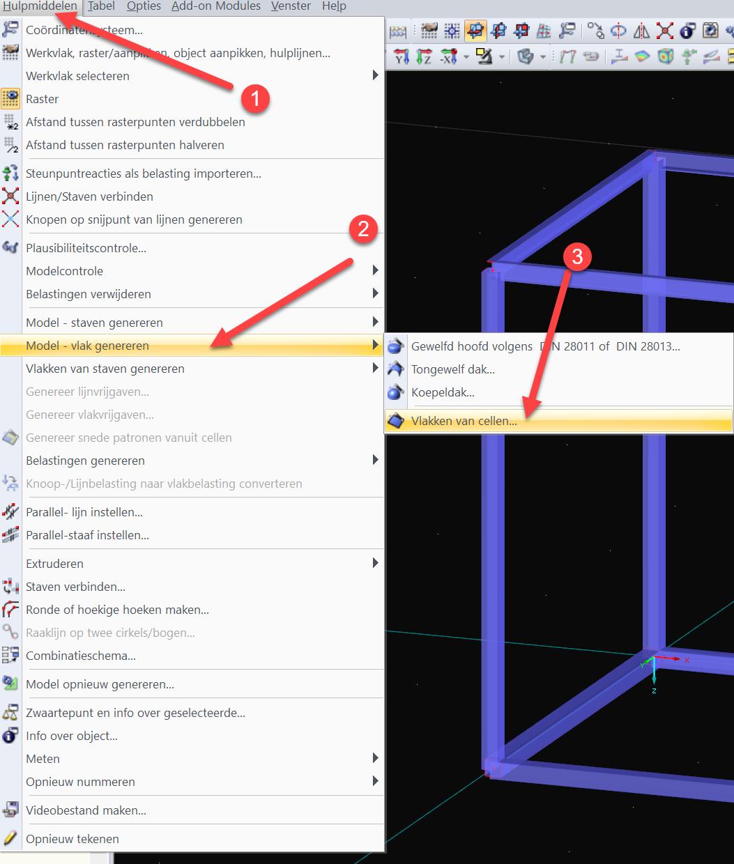 3D Container genereren met vlakken van 3D cel in RFEM rekensoftware