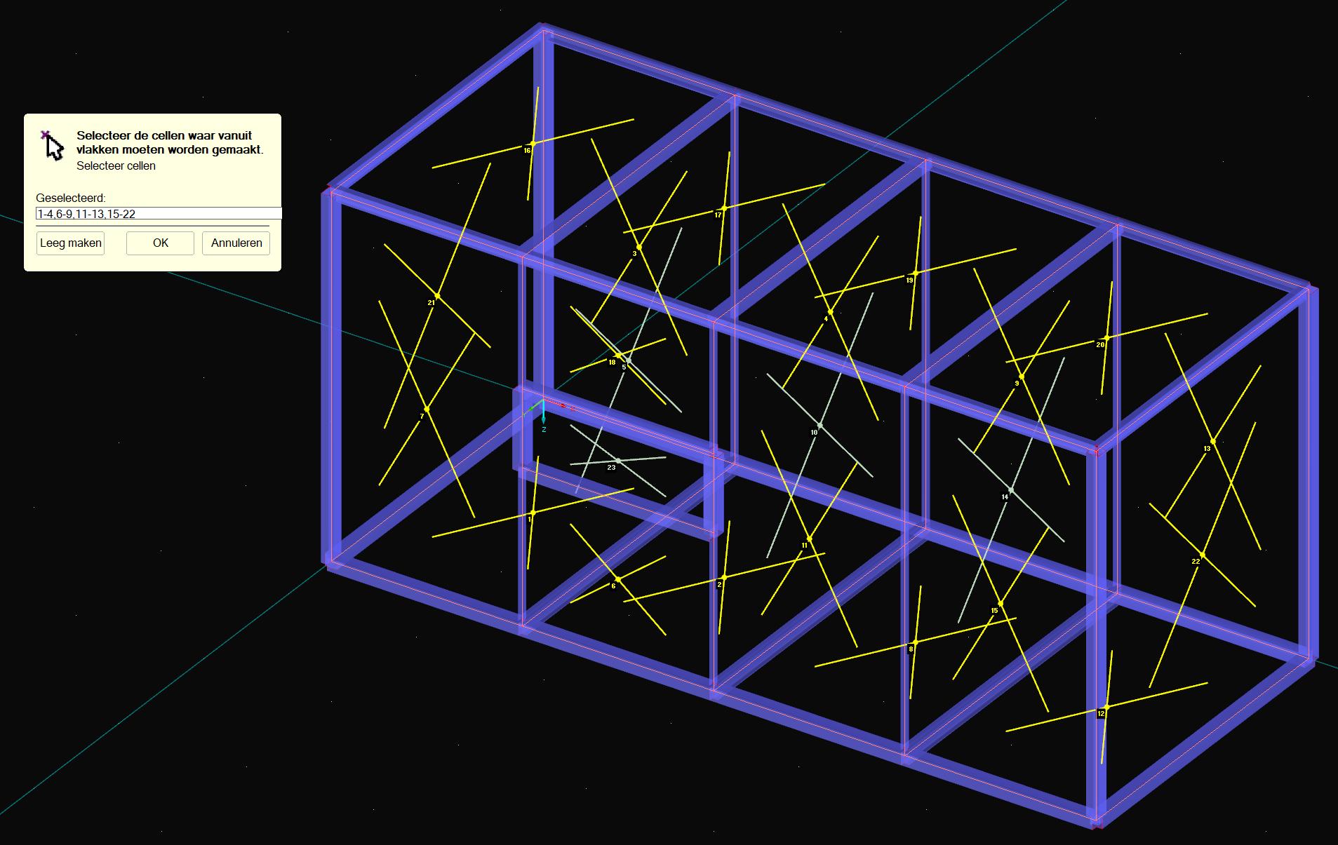 3D Container genereren vlakken selecteren
