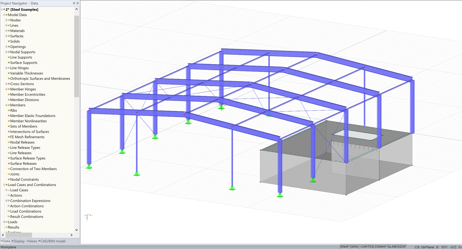 1D en 2D elementen model in RFEM import