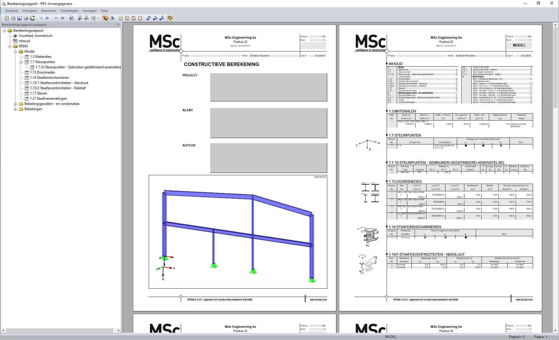 3D weergave van constructie in berekeningsrapport in RFEM