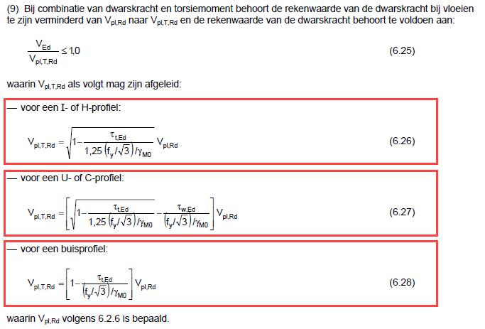 Rekenwaarde dwarskracht bij aanwezigheid van torsie volgens EC3