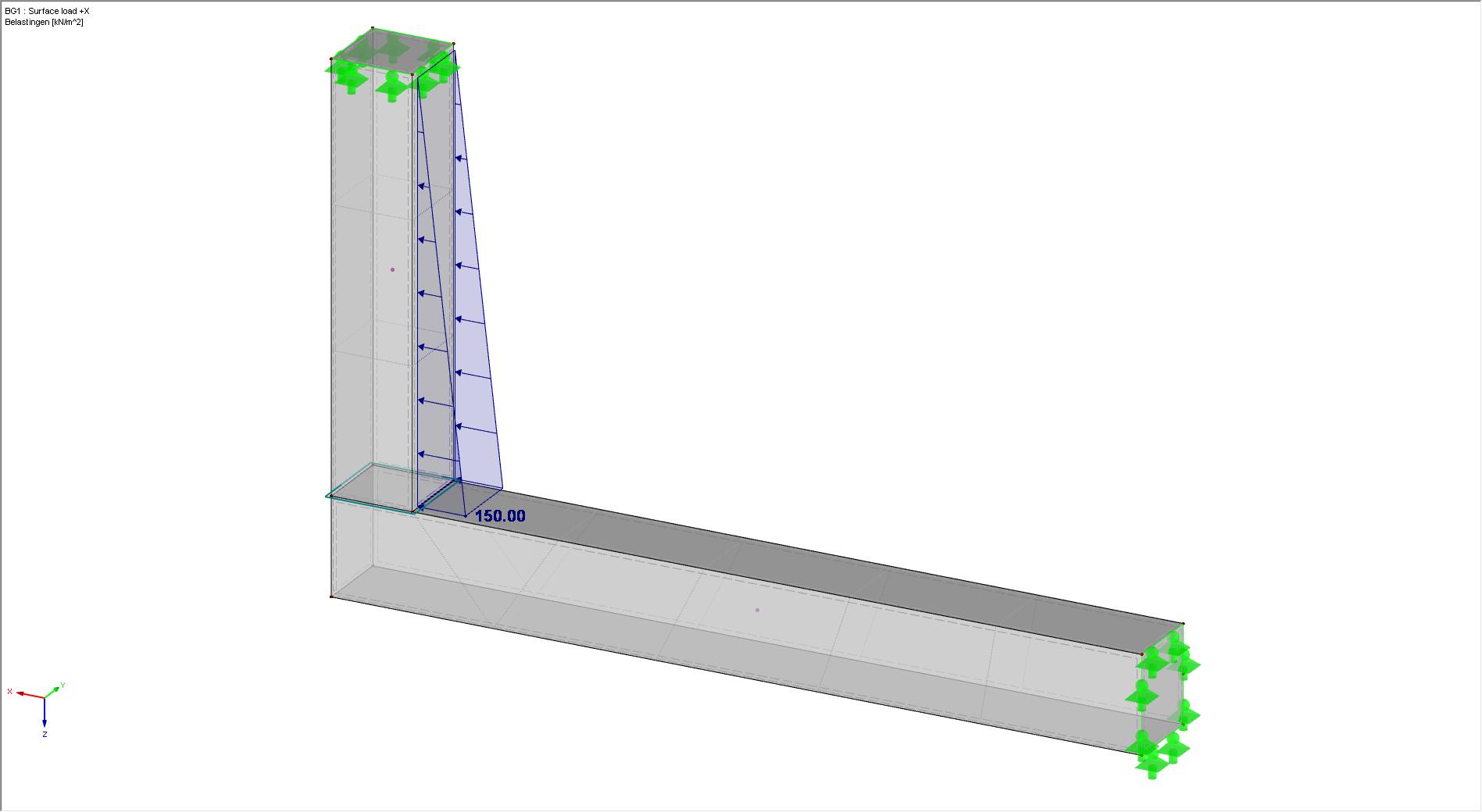 Belastingen +X met vlakvrijgave in RFEM