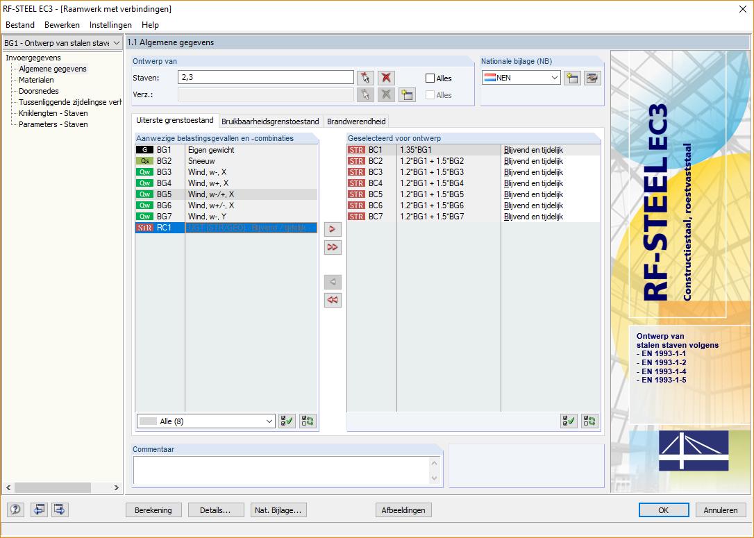 Dialoogvenster RF-STEEl EC3 staalcontrole module van rekensoftware RFEM