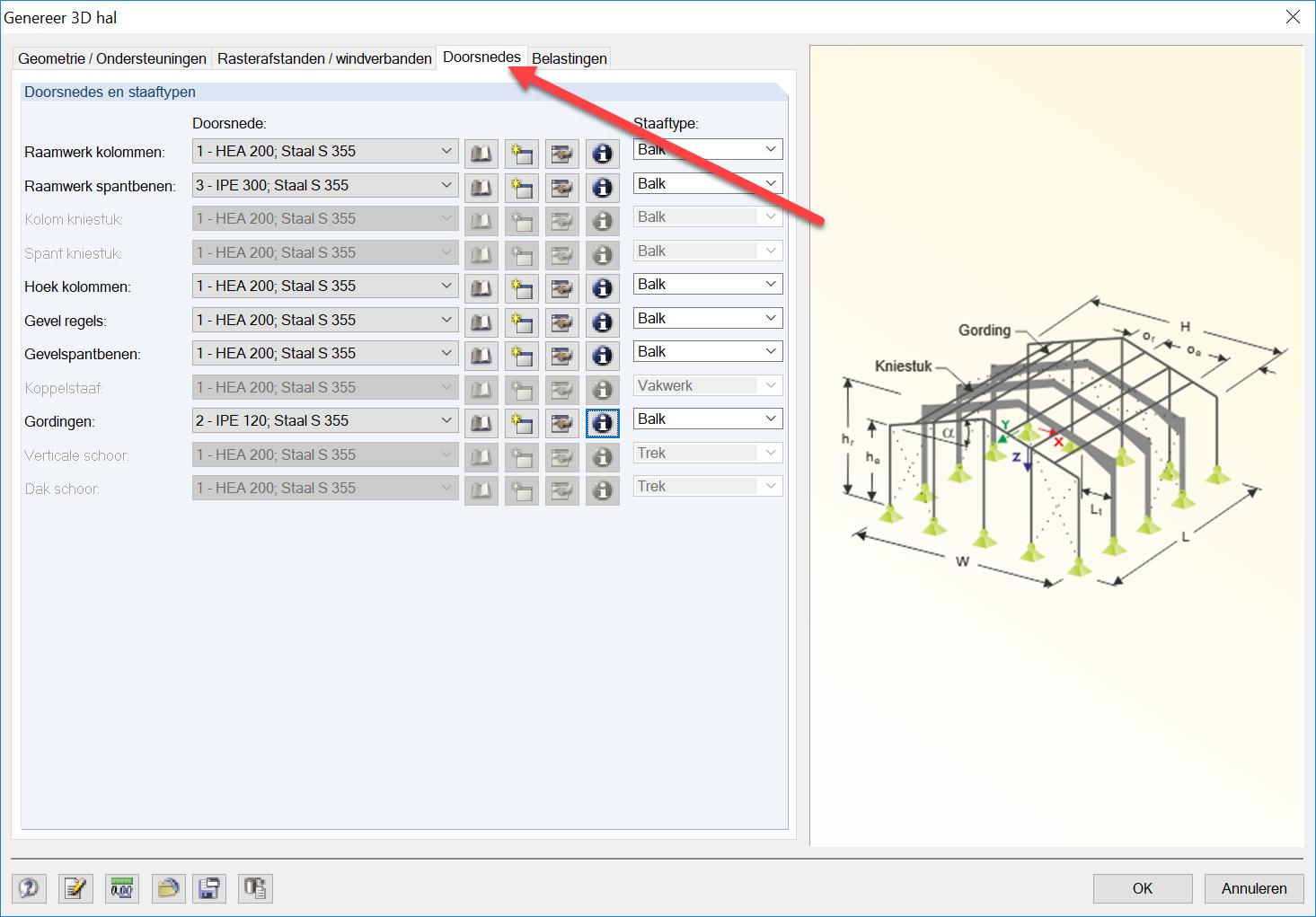 Eenvoudig rekenmodel 3D Hal genereren doorsnedes met 3D hal in RFEM