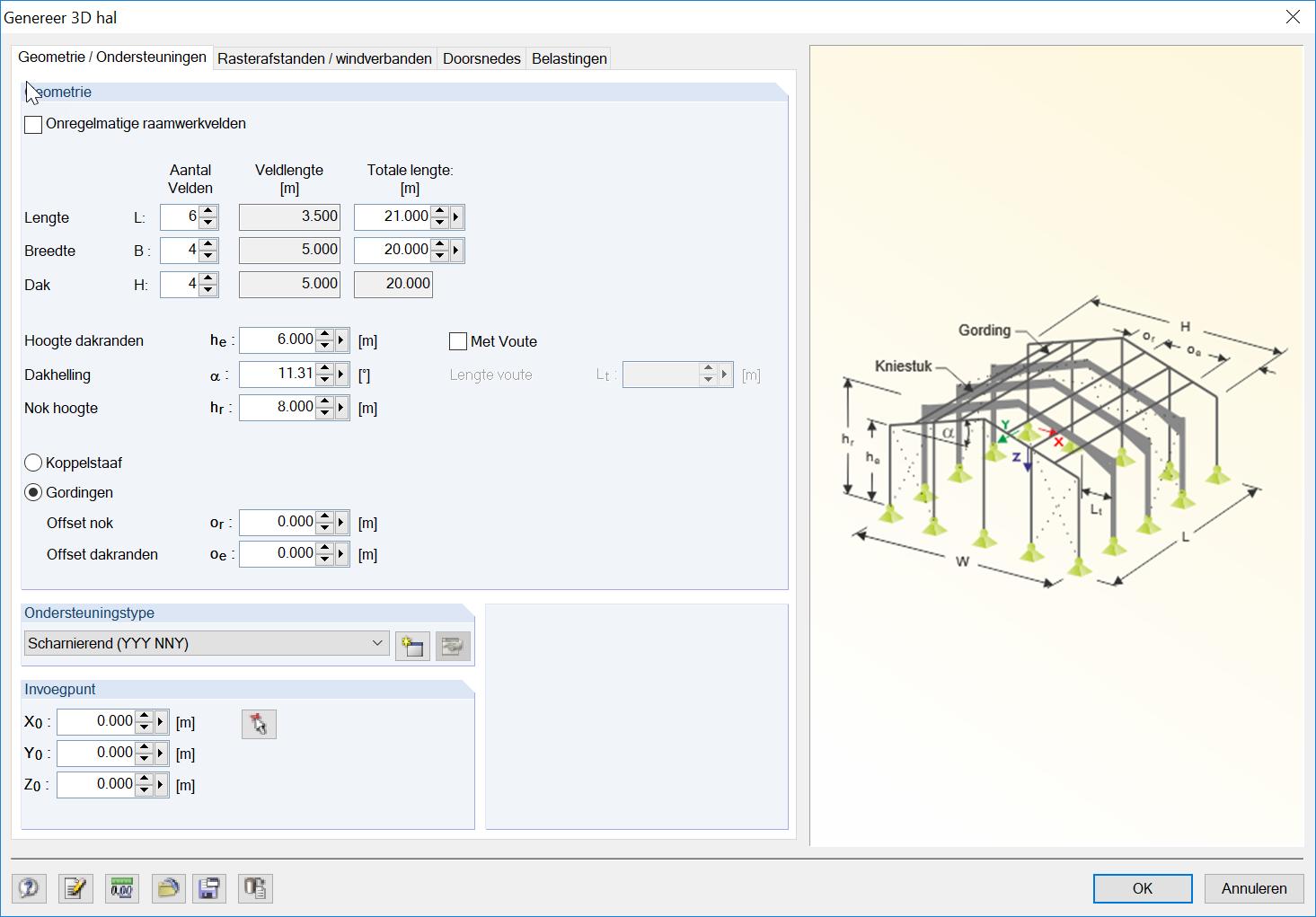 Eenvoudig rekenmodel 3D Hal genereren met 3D hal in RFEM