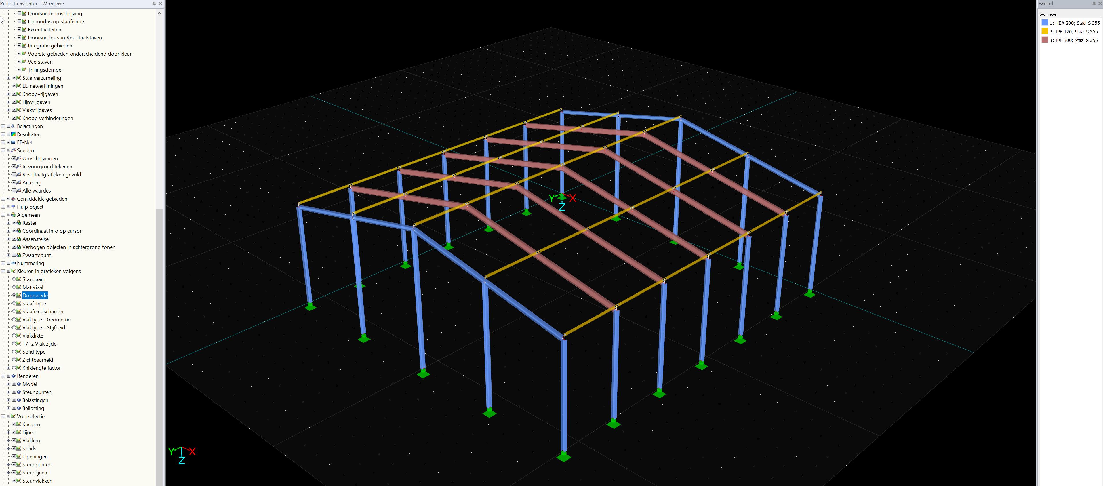 Eenvoudig rekenmodel van 3D Hal opzet met 3D hal in RFEM