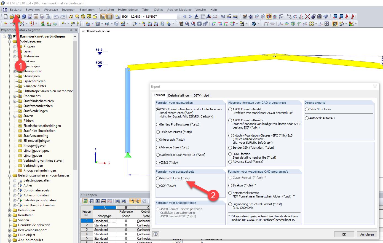 Bestand exporteren vanuit RFEM naar MS Excel