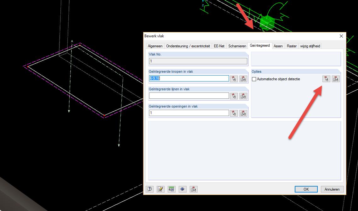 Geintegreerde objecten selecteren die in een vlak liggen in RFEM