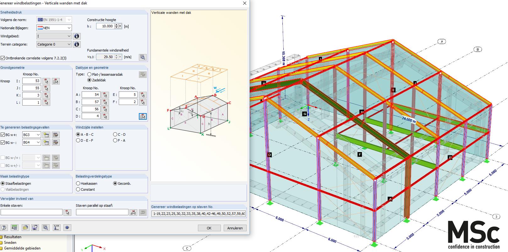 Rekenmodel hal met schuin dak in RFEM