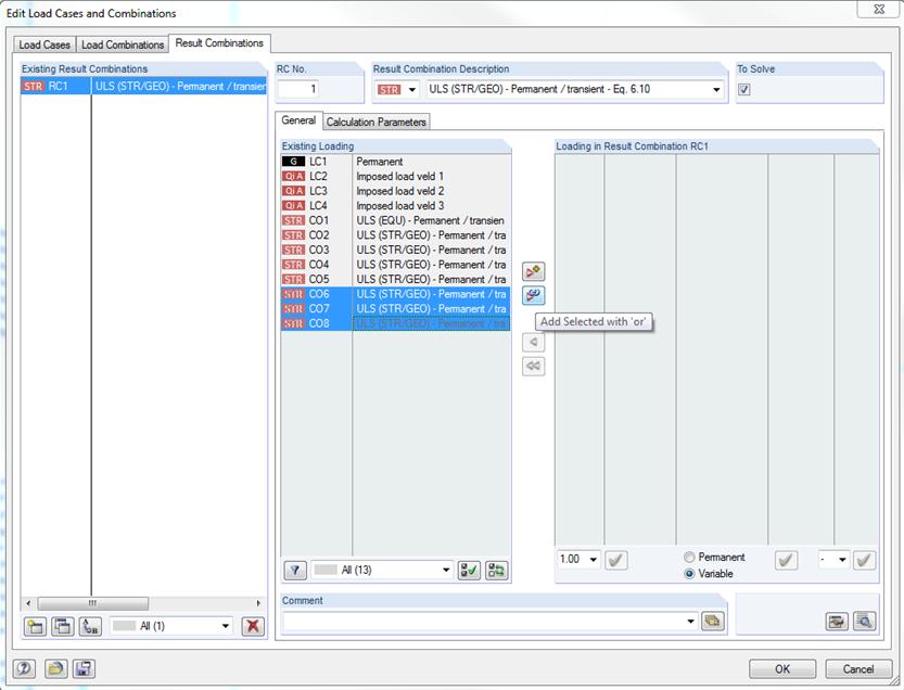 Handmatige resultaatcombinaties in rekensoftware RFEM