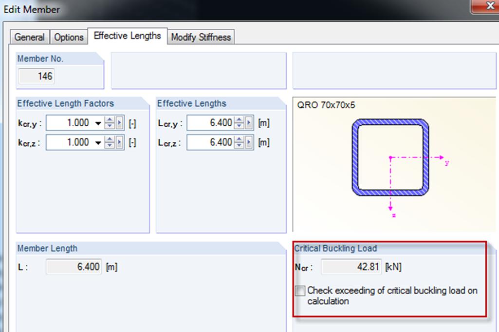 Kritische knikkracht in staaf in rekensoftware RFEM