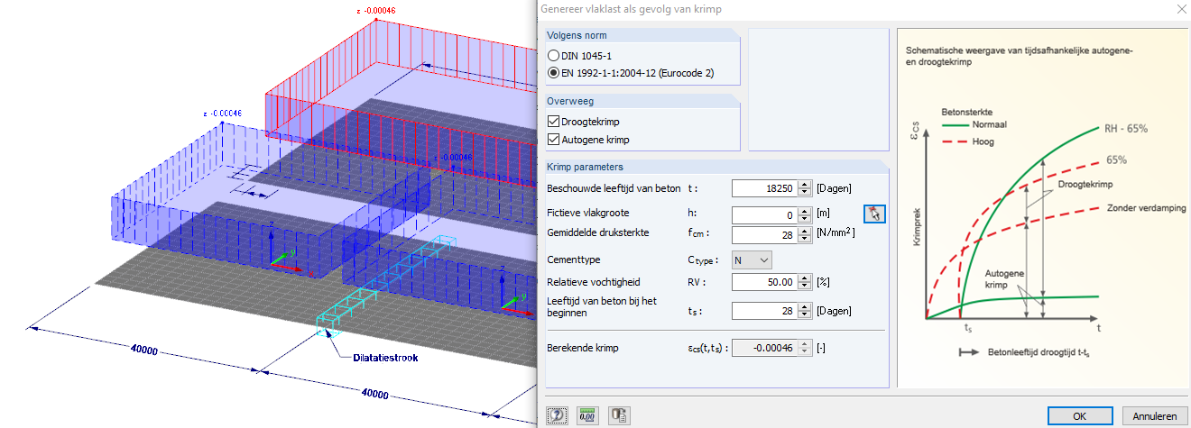 Krimp als belastinggeval op betonvloer in RFEM rekensoftware