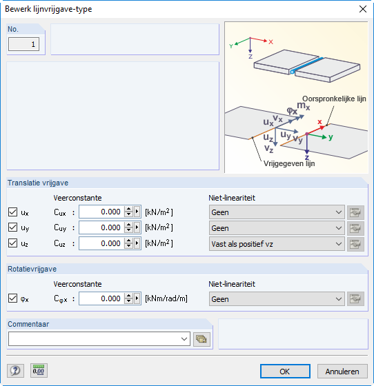 Lijnvrijgave dialoogvenster settings in RFEM