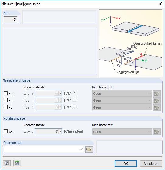 Lijnvrijgave type dialoogvenster in RFEM