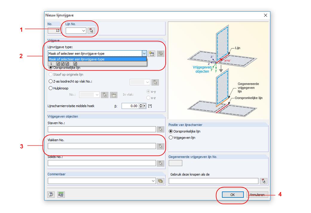 Lijnvrijgave nieuw dialoogvenster in RFEM rekensoftware