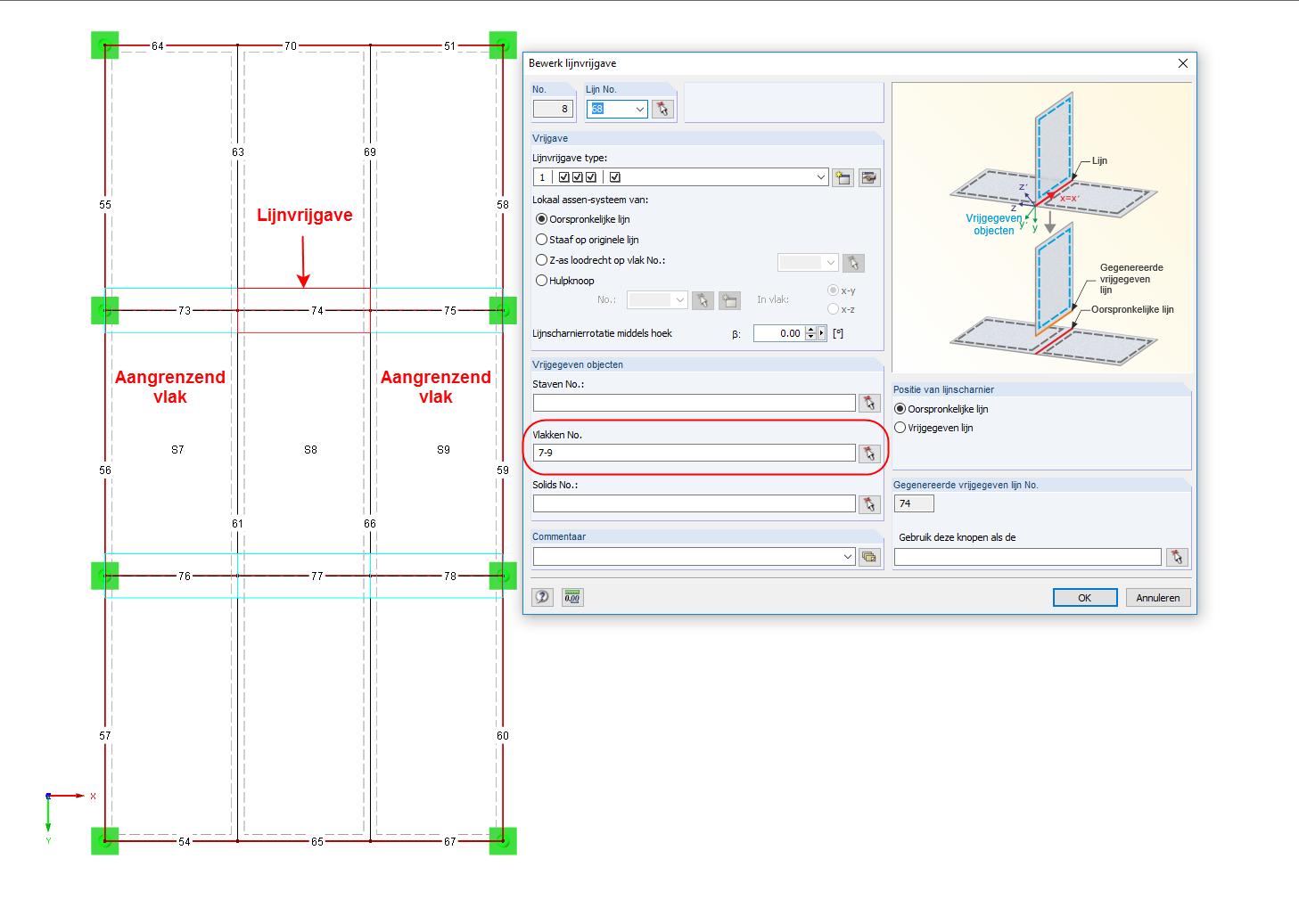 Lijnvrijgave op meerdere oppervlakken in RFEM software
