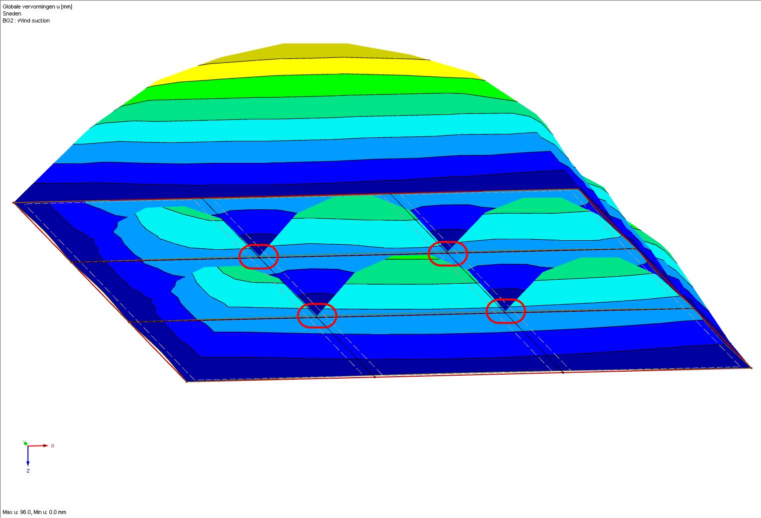 Lijnvrijgave van een vlak vervorming 3D in RFEM