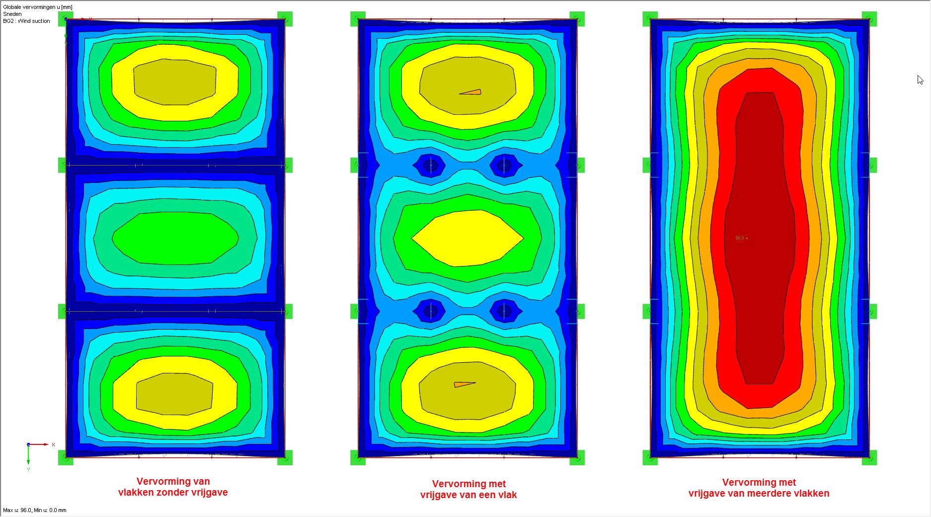 Lijnvrijgave vervormingen van een of meer vlakken in RFEM  constructiesoftware