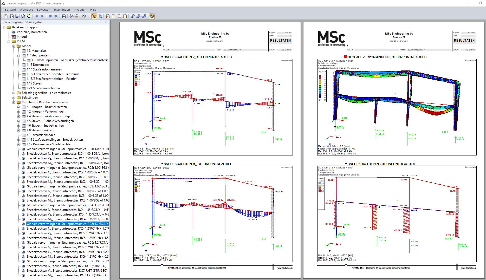 resultaten globale vervormingen in constructie in berekeningsrapport RFEM
