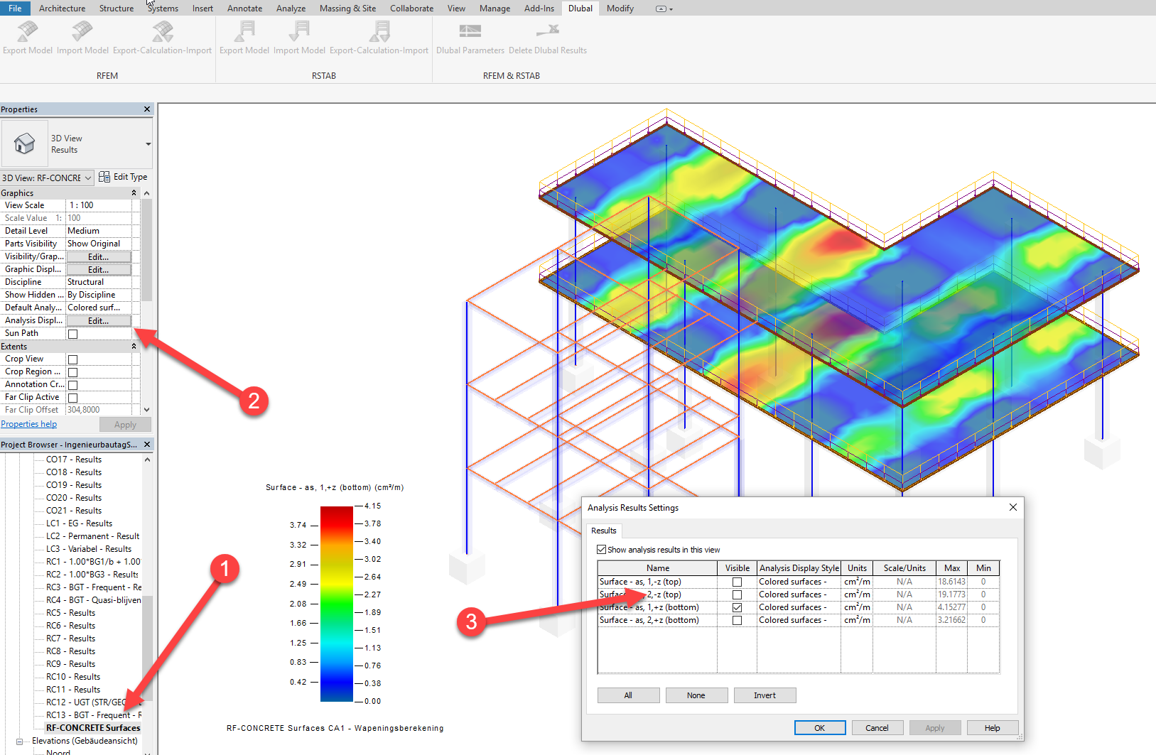 Wapening berekend in RFEM van betonvlak controleren in REVIT