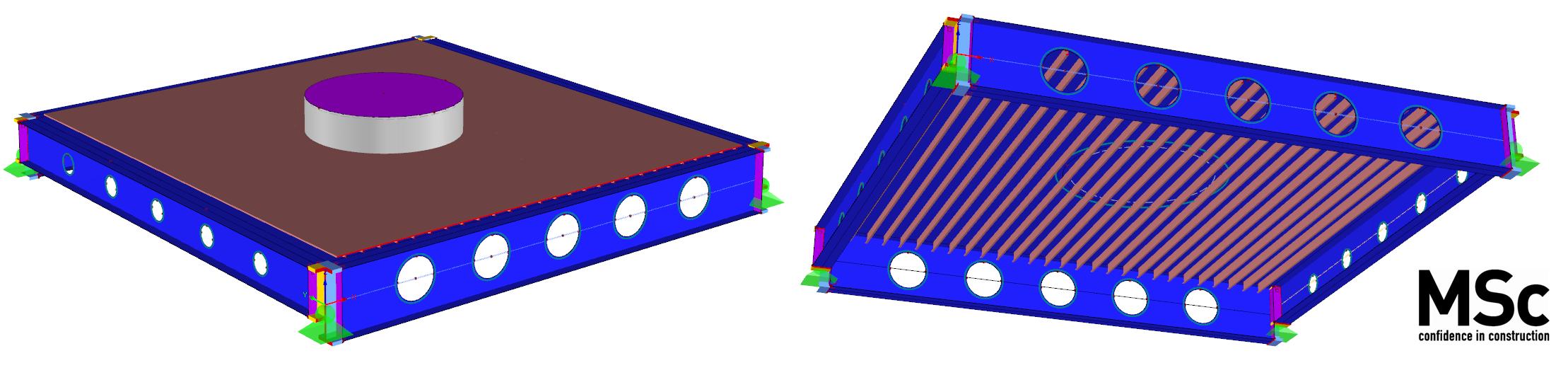 Balkrooster met tussenliggende liggers opgezet in RFEM