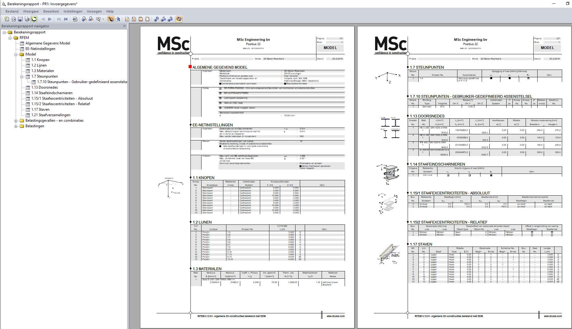 Voorbeeld berekeningsrapport invoergegevens in RFEM rekensoftware