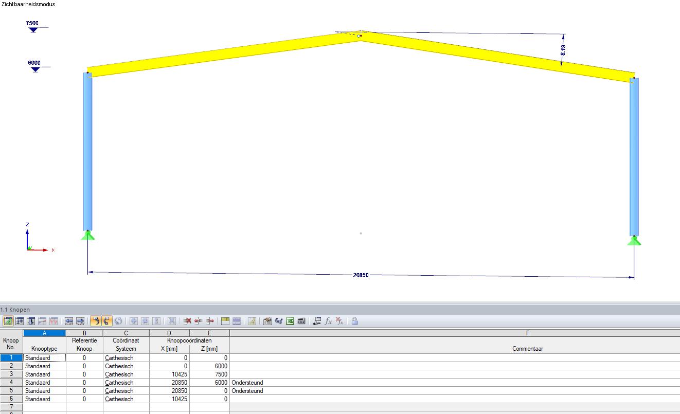 Aangepast model in RFEM via gegevens in excel