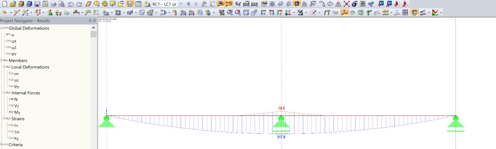Vergelijking momentenlijn 2 of 3 steunpunten in RFEM rekensoftware