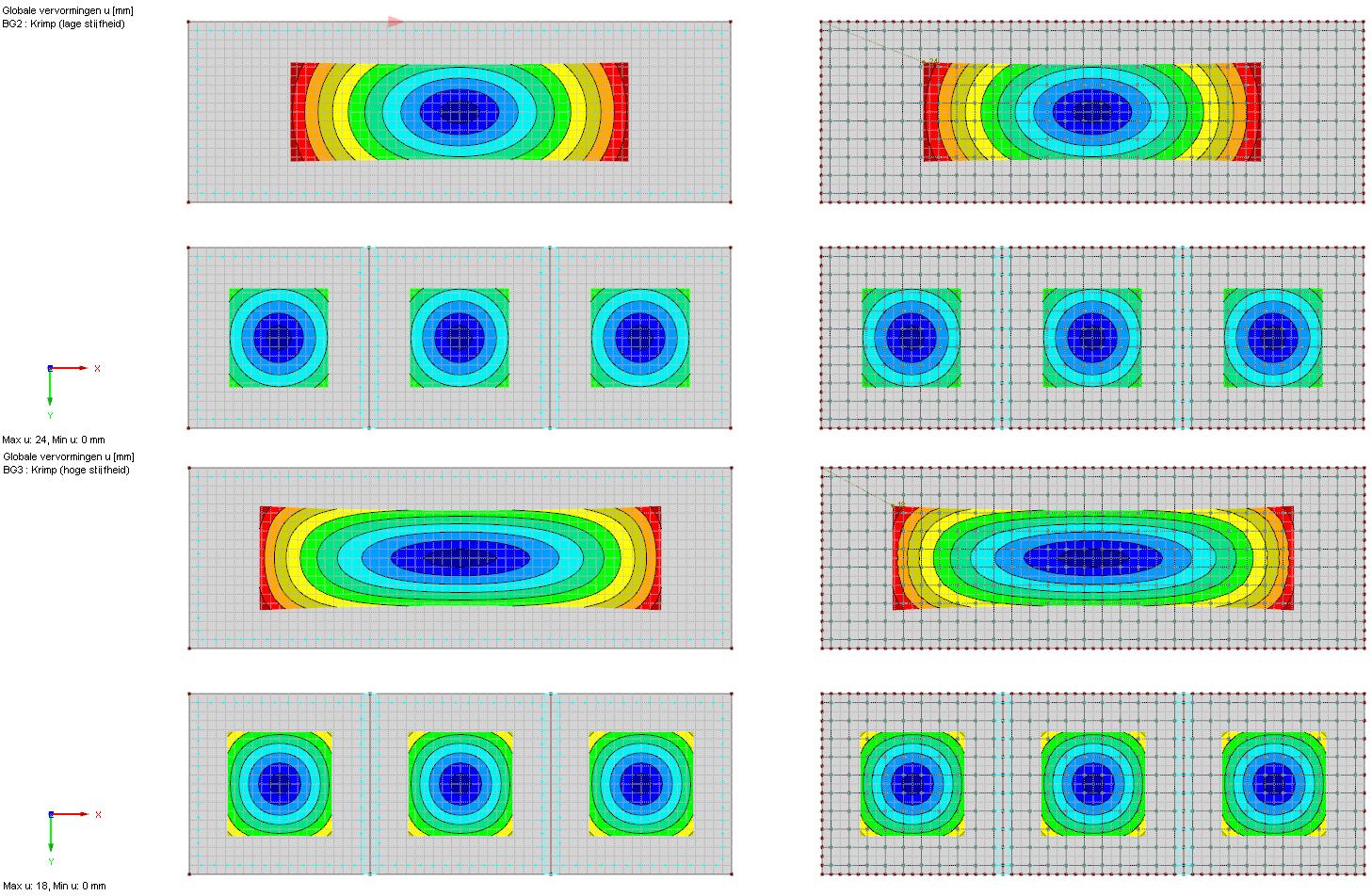 Vervormingen in betonvloeren onder invloed van krimp eurocode 2 RFEm rekensoftware