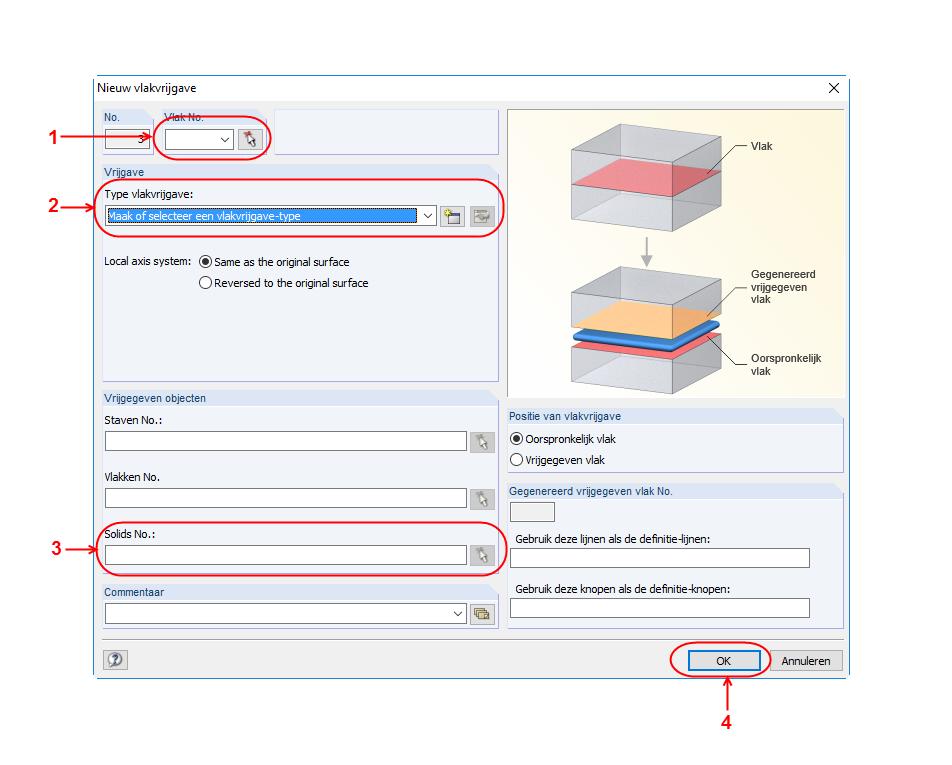 Vlakvrijgave dialoogvenster in RFEM rekensoftware