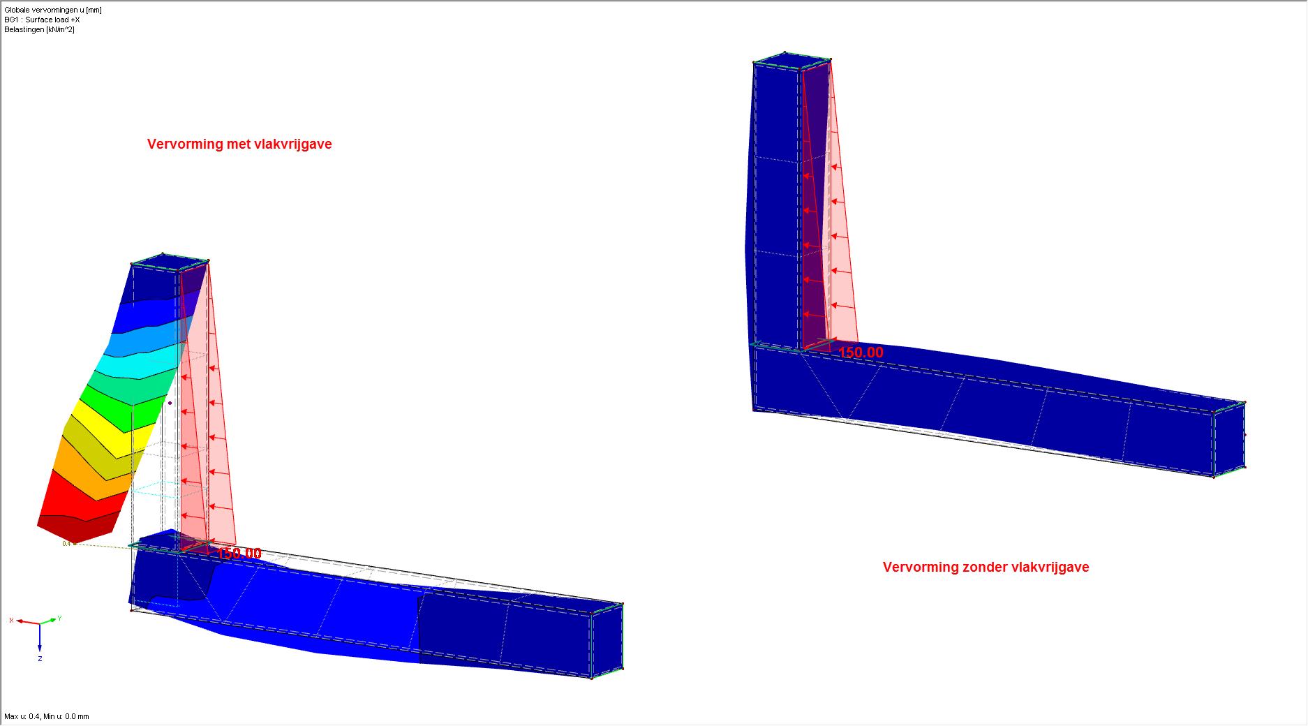 Resultaten Vlakvrijgave +X in RFEM