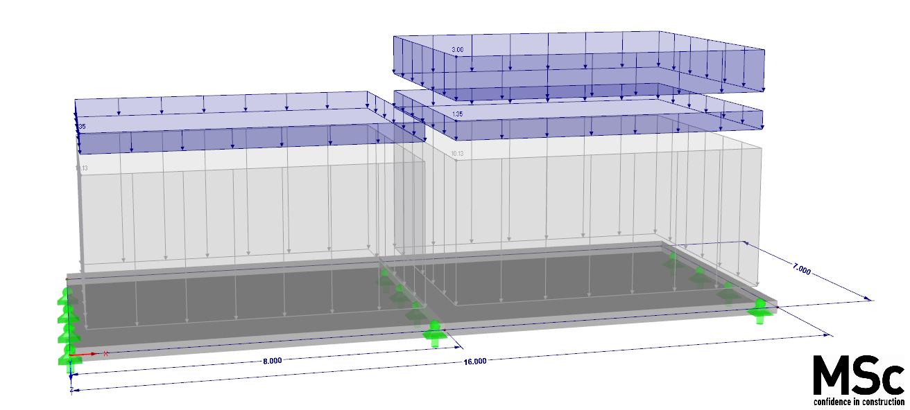 variabele belasting categorie belastingcombinatie op een betonnenvloer in rekensoftware RFEM