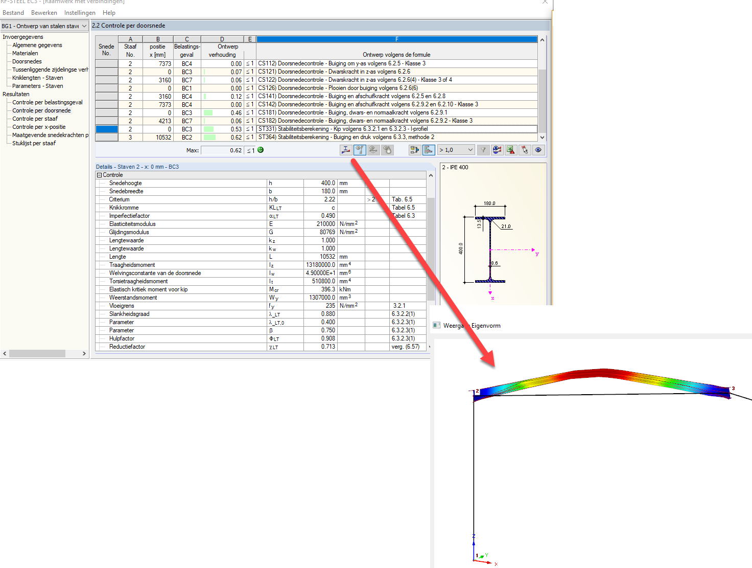 Doorsnedecontrole volgens de Eurocode 3 in rekensoftware RFEM