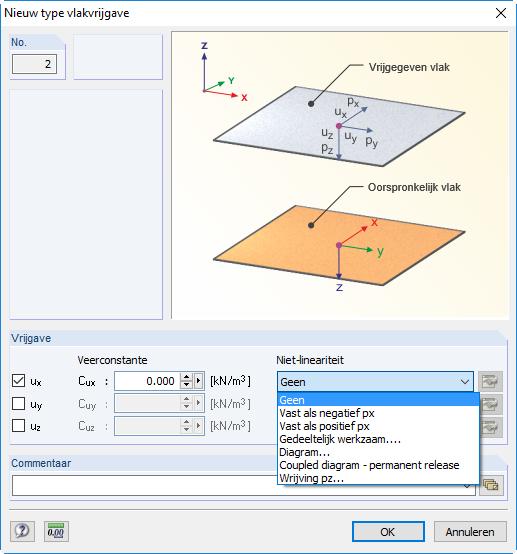 niet lineairiteiten instellen vlakvrijgave in RFEM rekensoftware