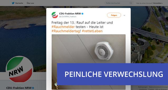 Peinliche Verwechslung: CDU-Fraktion verwechselt Rauchmelder mit WLAN-Hotspot.