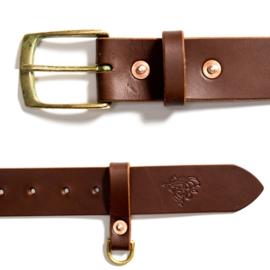 Devil leather belt brown
