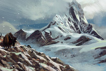 A snowy mountain