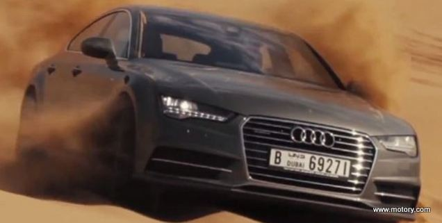 Amazing Audi A7 2016 Drift On Dubais Sand Motory Saudi Arabia