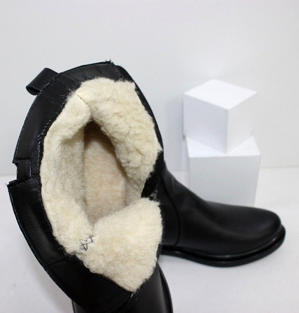 Кожаные зимние ботинки на невысоком каблуке Код: 111764 (507-1-ч/к-мех) Запоріжжя - зображення 4
