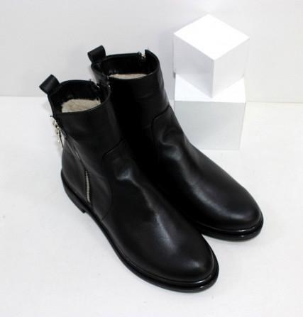 Кожаные зимние ботинки на невысоком каблуке Код: 111764 (507-1-ч/к-мех) Запоріжжя - зображення 5