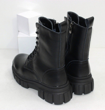 Кожаные черные ботинки на зиму Код: 111869 (TY1792-6) Запоріжжя - зображення 3
