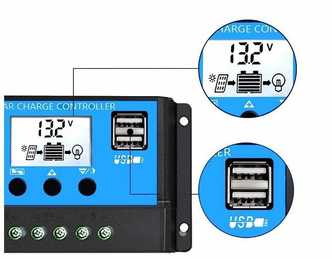 10A PWM (ШИМ) контроллер заряда аккумуляторов от солнечной панели 12/24В с ЖК-дисплеем, 2 USB Дніпро - зображення 2
