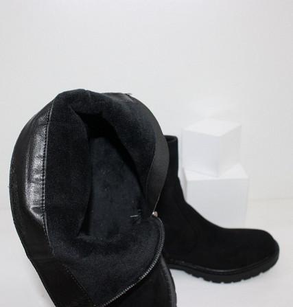 Замшевые черные ботинки на каблучке Код: 111853 (P877-2) Запоріжжя - зображення 4